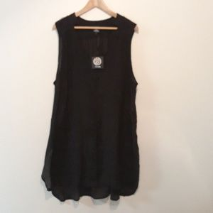 Bobeau NEW Black Tunic w Lace Trim 2X